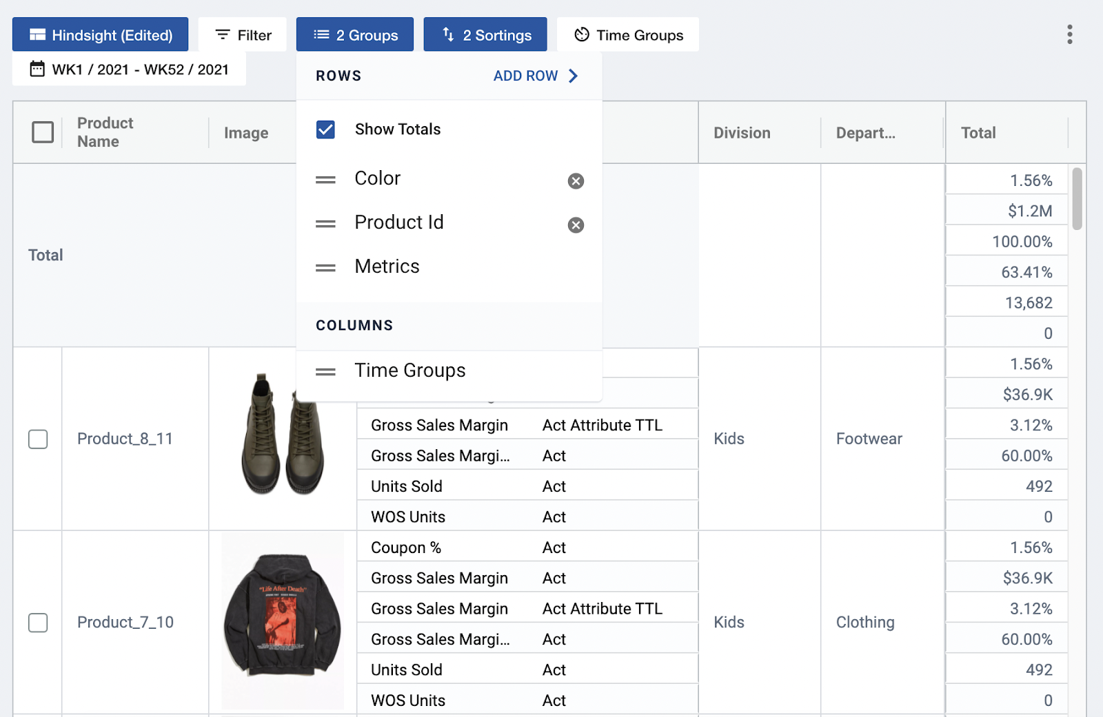 Adjusting pivot view by grouping in Toolio's Item Plan module